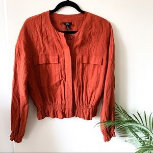 Mossimo Burnt Orange Button Down Ruched Blouse
